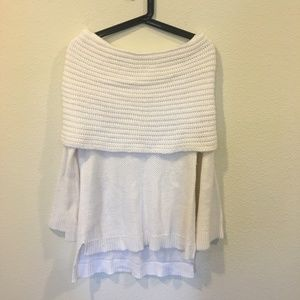 Sun & Shadow Sweaters - Sun & Shadow white knit off the shoulder sweater